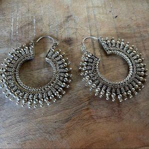 Vintage silver dissent boho dangle hoop earrings